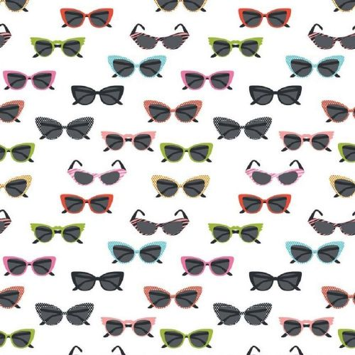 Riley Blake - Glasses (White/Multi) Fabric